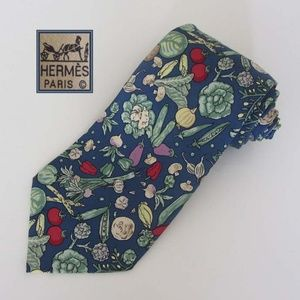 HERMES multicolor vegetable pattern tie 100% silk